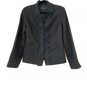Lafayette 148 NY Linen Ruffle Front Blazer Jacket